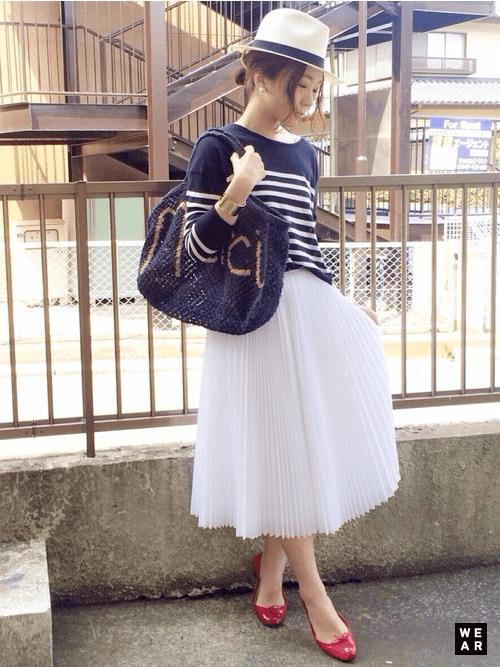 白シフォンプリーツスカート